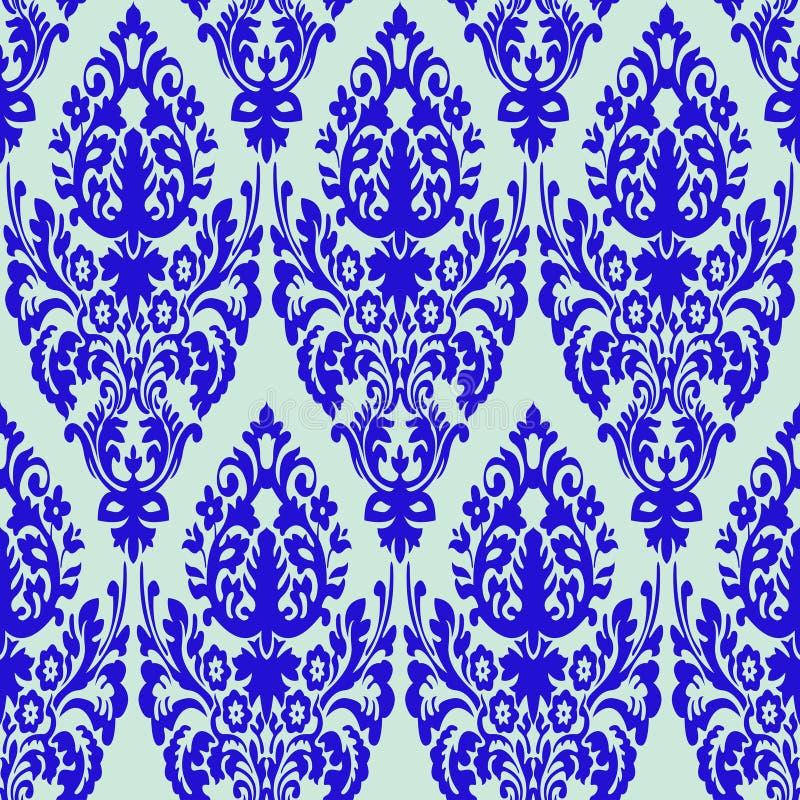 Textura sem emenda azul do damasco ilustração royalty free