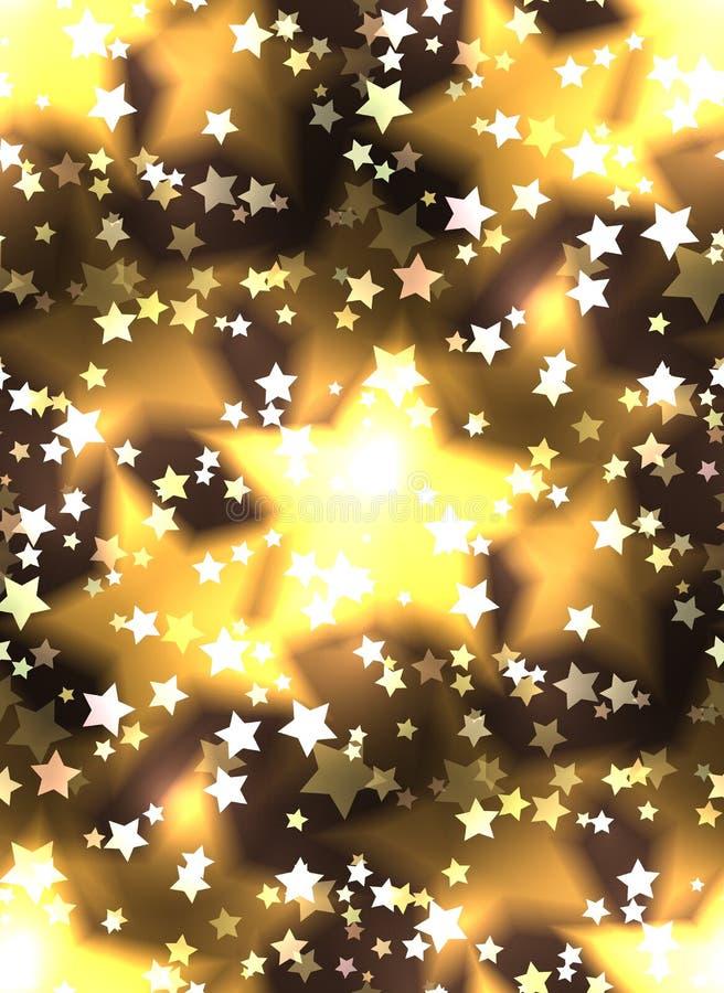 Textura sem emenda com as estrelas luxuosos e o bokeh de um ouro ilustração royalty free