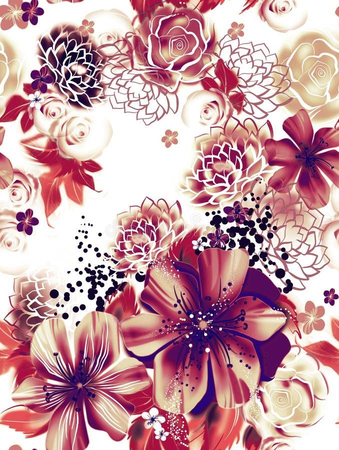 Textura sem emenda com as flores cor-de-rosa e amarelas na técnica da aquarela. ilustração stock