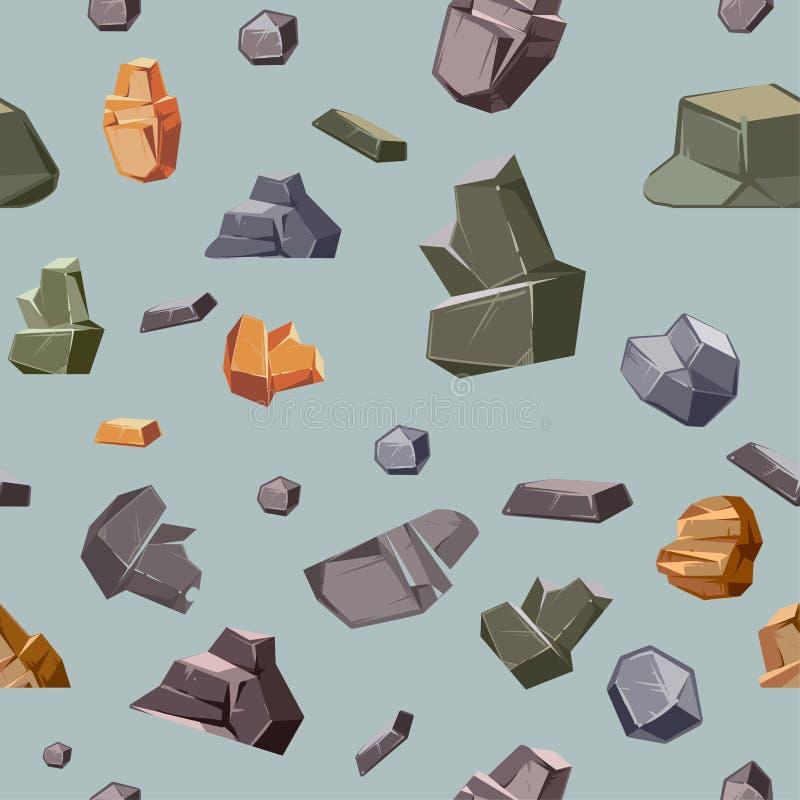 Textura sem emenda com as rochas diferentes das cores ilustração stock