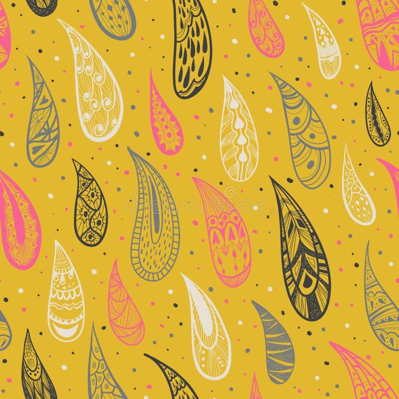 A textura sem emenda com chuva deixa cair em um fundo amarelo Gotas decorativas Fundo abstrato colorido Cores brilhantes Vector o ilustração stock
