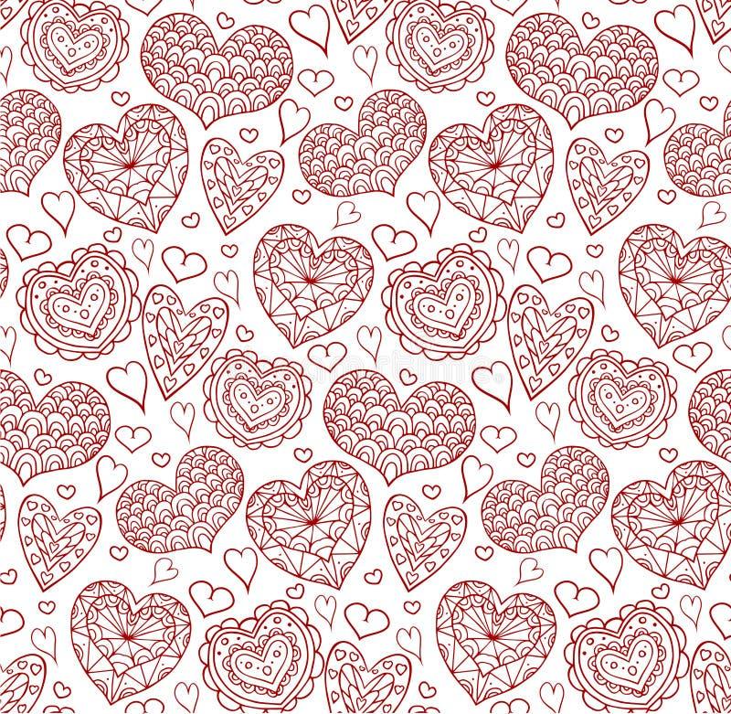 Textura sem emenda com contornos vermelhos dos corações da garatuja ilustração do vetor