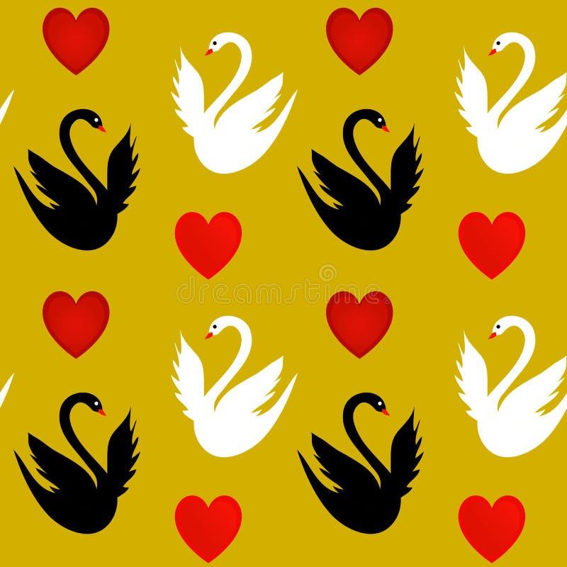 Textura sem emenda com corações e as cisnes brancas e pretas ilustração stock