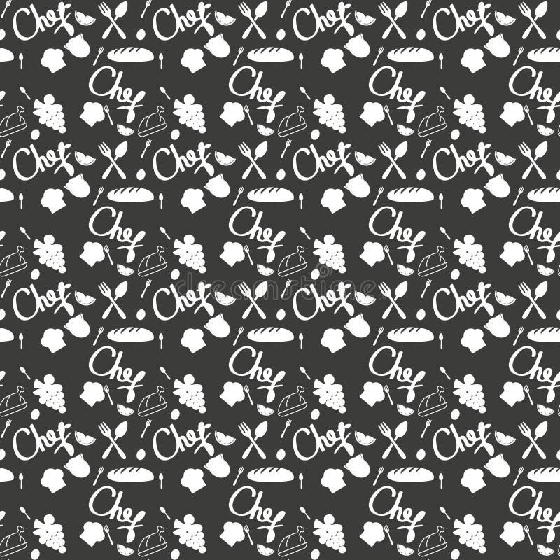 Textura sem emenda com dos utensílios do esboço da garatuja da cozinha desenhados à mão com gizes no quadro-negro Pode ser usado  ilustração royalty free