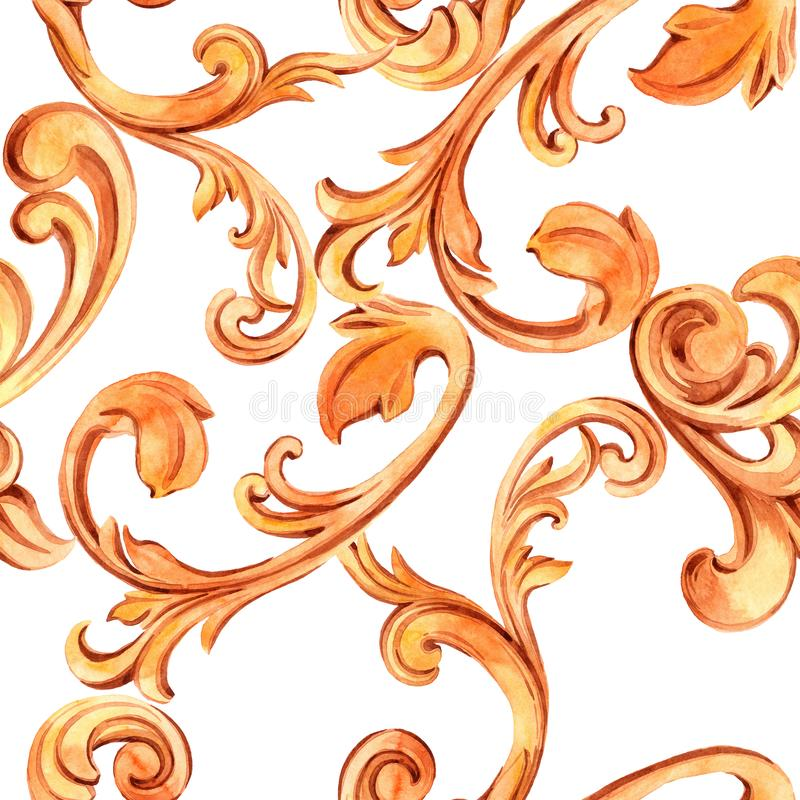 Textura sem emenda com elementos dourados de barroco Decora??o do renascimento para o projeto e as mat?rias t?xteis luxuoso tirad ilustração royalty free