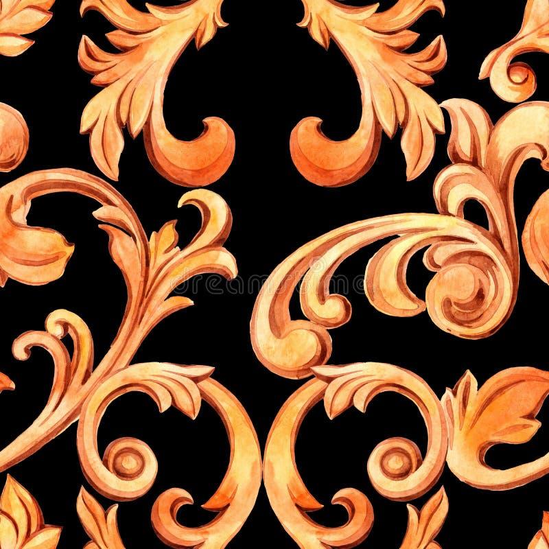 Textura sem emenda com elementos dourados de barroco Decora??o do renascimento para o projeto e as mat?rias t?xteis luxuoso tirad ilustração do vetor