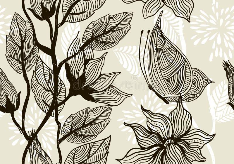 Textura sem emenda com flores à moda ilustração do vetor