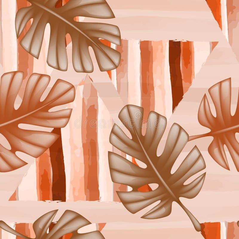 Textura sem emenda com folhas e tri?ngulos do monstro Testes padr?es tropicais ver?o, f?rias, curso Cores quentes de pa?ses morno ilustração royalty free