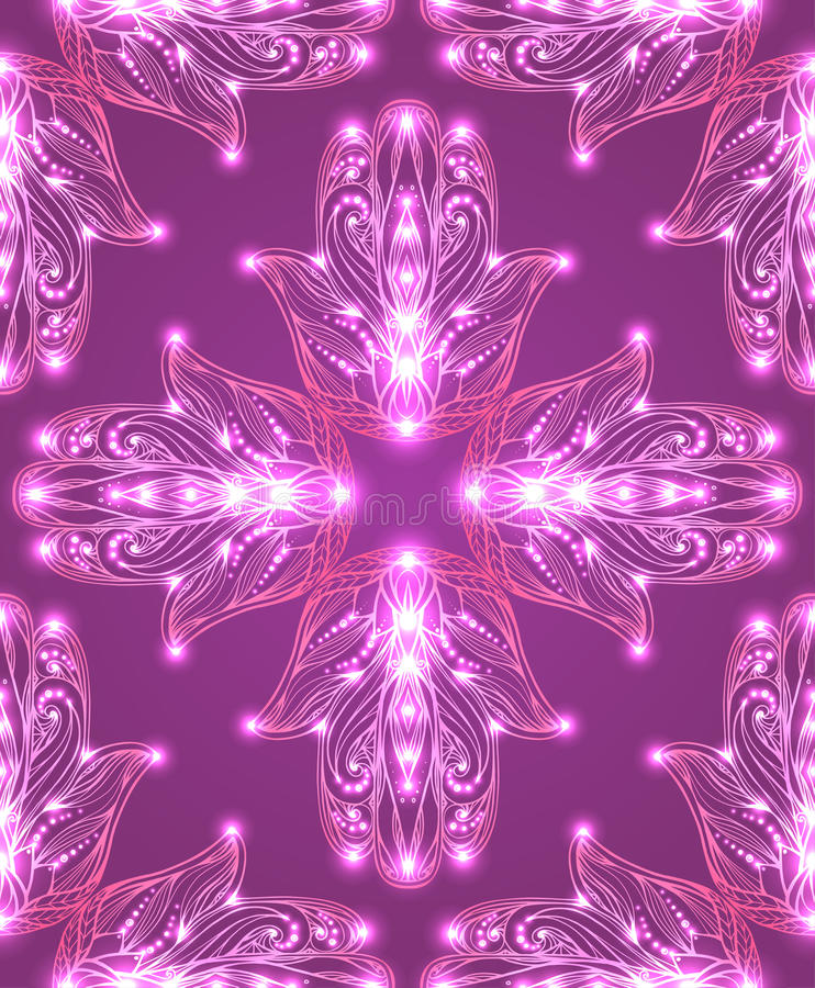 Textura sem emenda com o Hamsa tribal colorido com teste padrão do boho ilustração royalty free