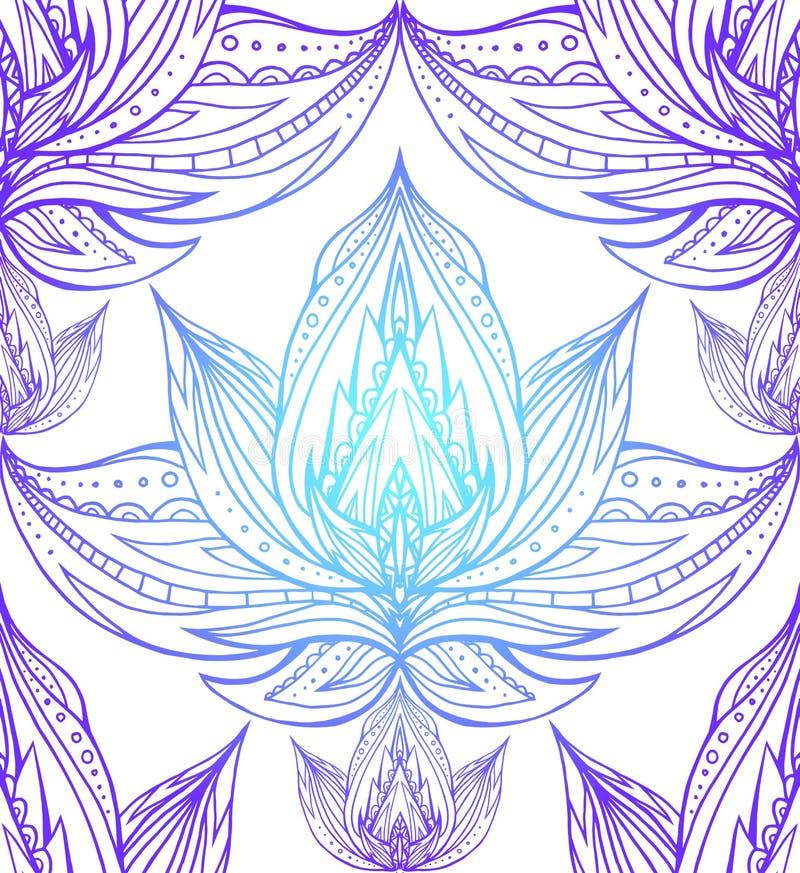 Textura sem emenda com os contornos dos lótus ilustração stock