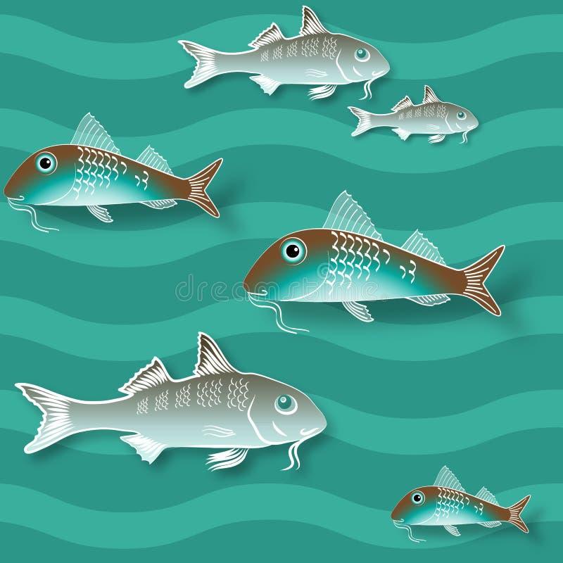 Textura sem emenda com peixes e onda Teste padrão do vetor ilustração stock