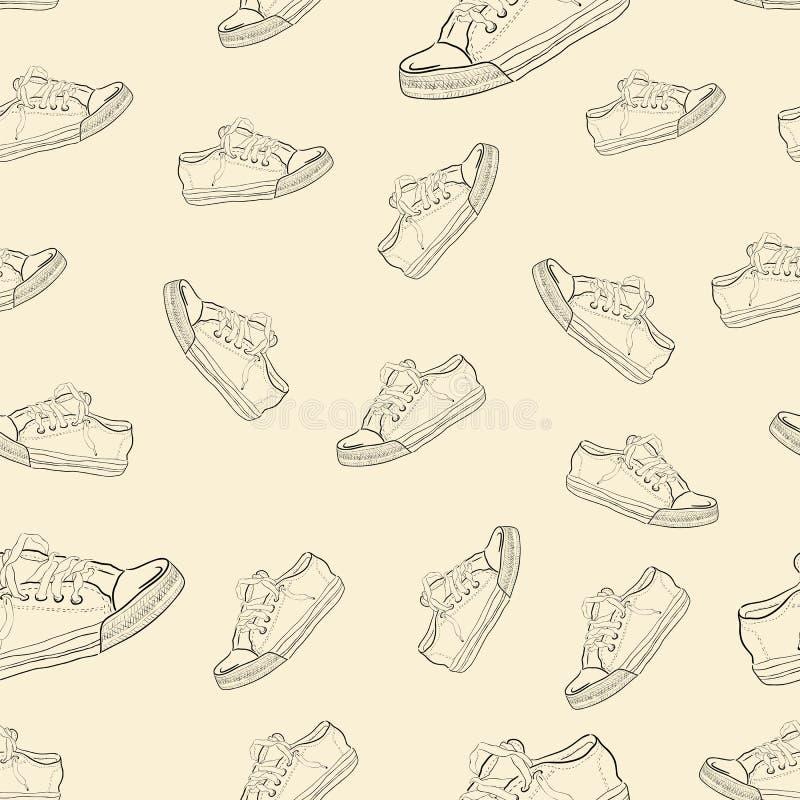 Textura sem emenda com sapatilhas ilustração royalty free