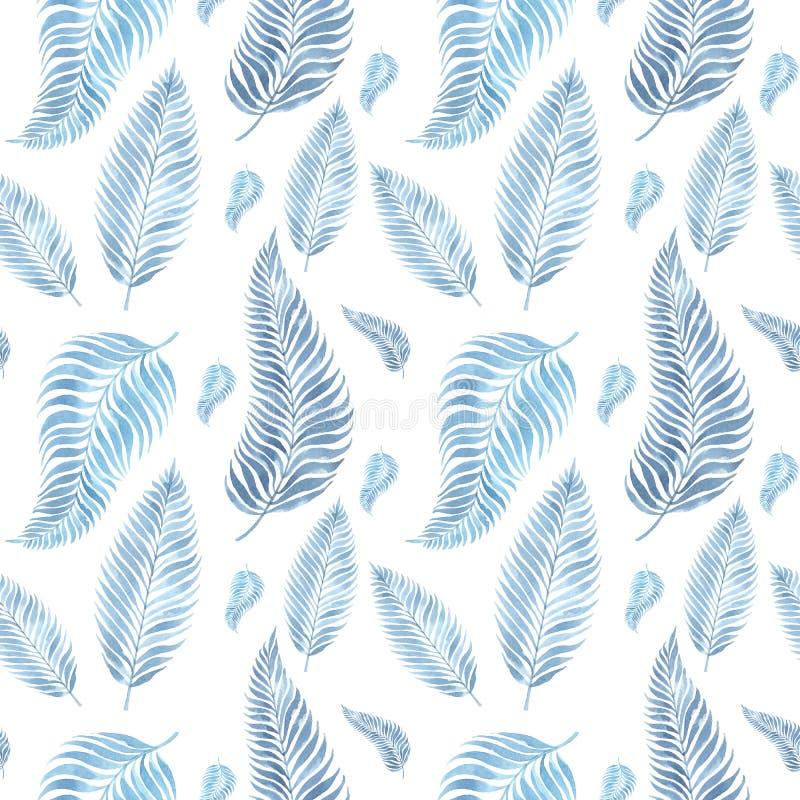 textura sem emenda da aquarela com a imagem das folhas ilustração do vetor