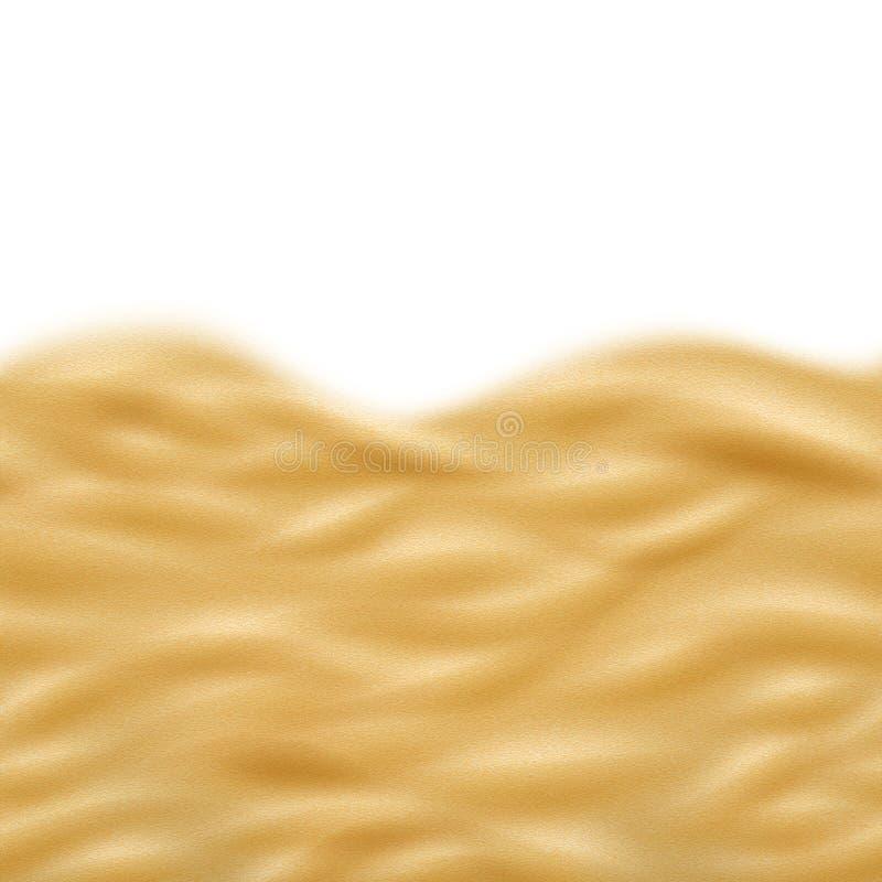 Textura sem emenda da praia realística ensolarada da areia Isolado no fundo branco Ondas naturais do deserto seco Eps 10 ilustração do vetor