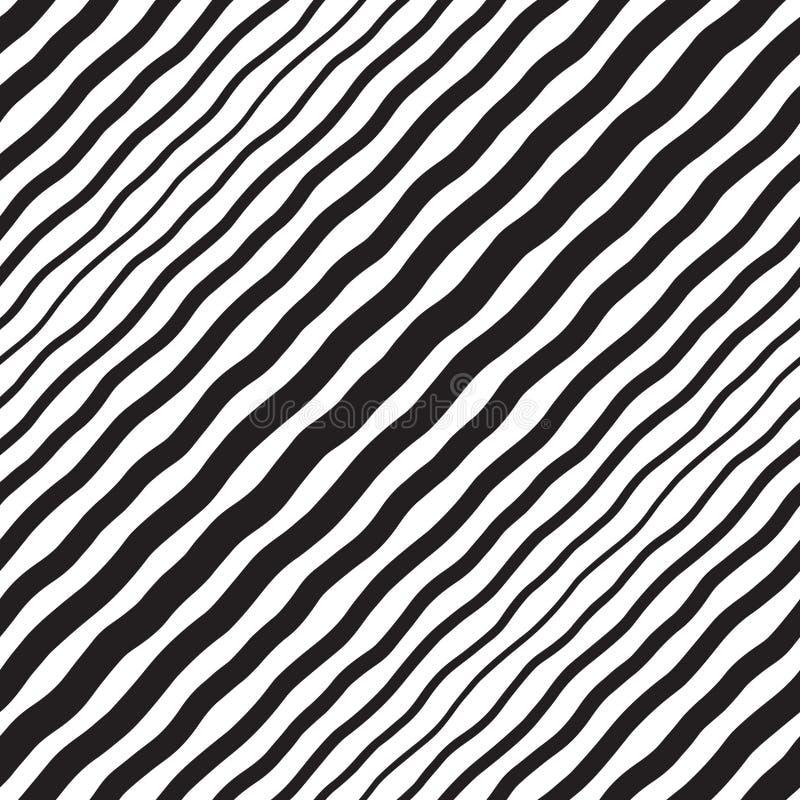 Textura sem emenda das listras onduladas diagonais de intervalo mínimo preto e branco ilustração royalty free