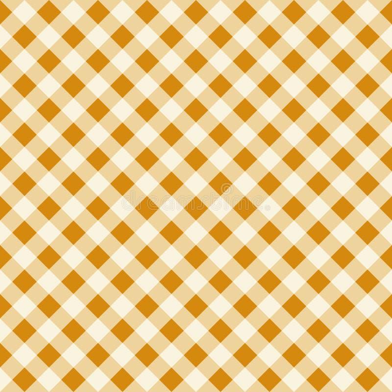 Textura sem emenda de Tan Checkered Fabric Pattern Background do vintage ilustração do vetor