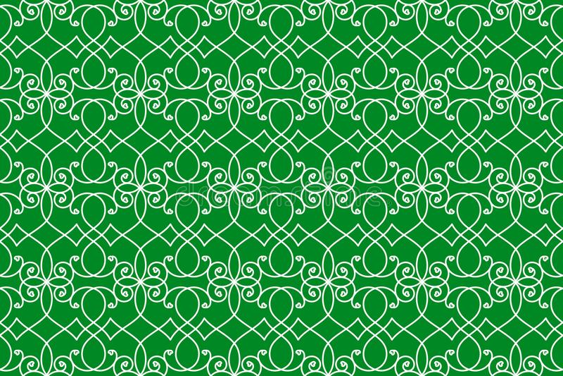 Textura sem emenda do fundo verde dos redemoinhos ilustração stock