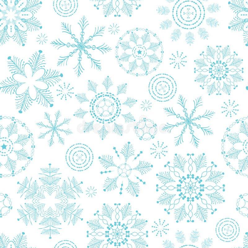 Textura sem emenda do inverno com flocos de neve Fundo do ano novo Molde do Natal ilustração stock