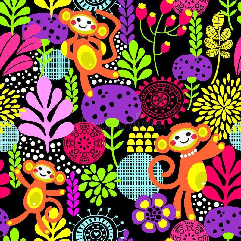 Textura sem emenda do macaco bonito com flores ilustração stock