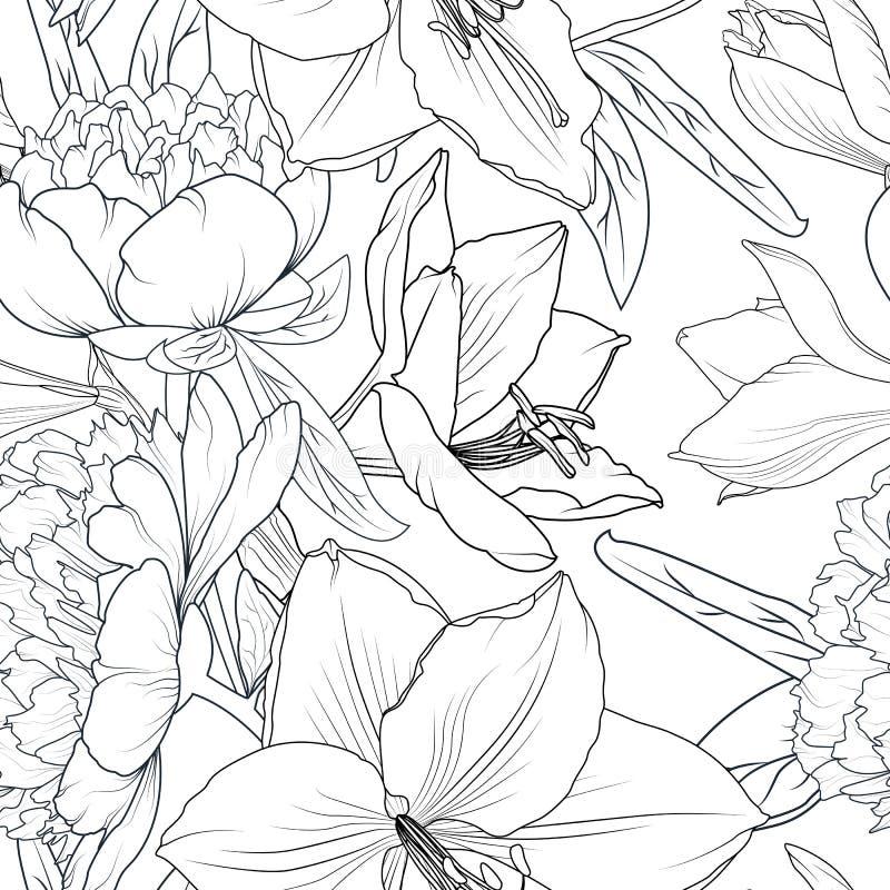 Textura sem emenda do teste padrão das flores da peônia e do lírio A lápis detalhado realístico greyscale branco preto esboço do  ilustração royalty free
