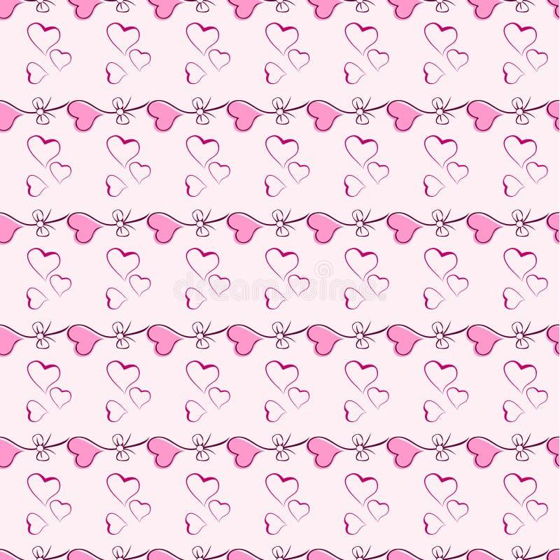 Textura sem emenda do teste padrão do vetor cor-de-rosa do coração. ilustração royalty free