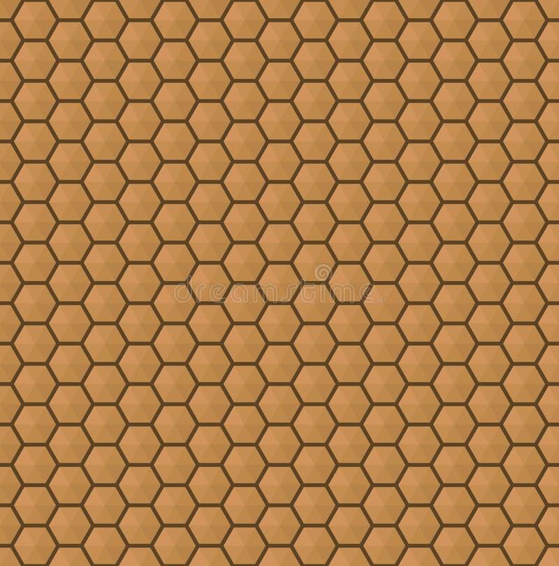 Textura sem emenda do teste padrão do marrom do hexágono ilustração stock
