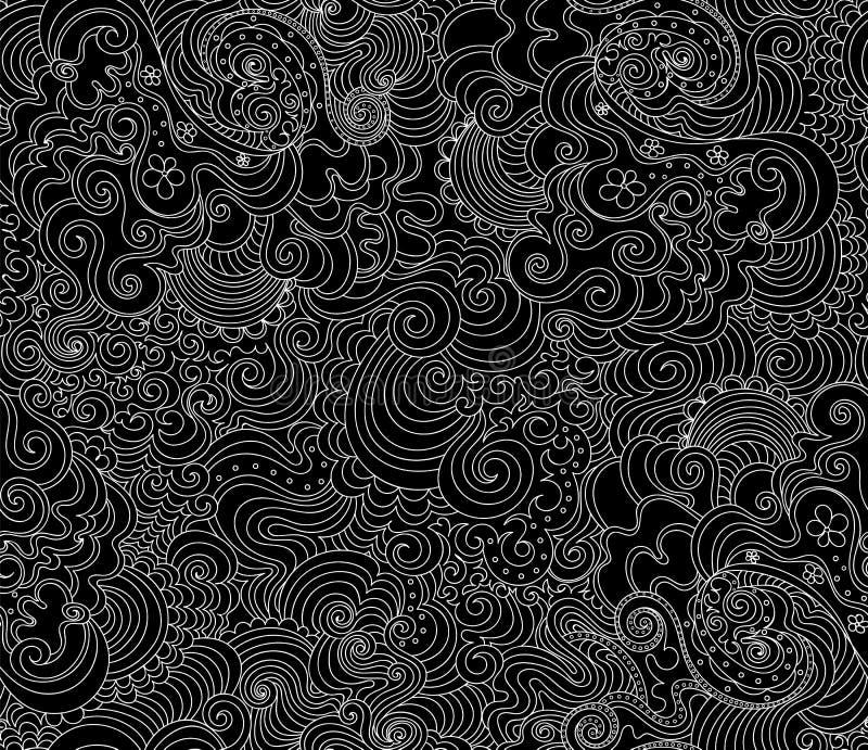 Textura sem emenda do vetor decorativo abstrato com garatujas escritas ? m?o, ornamento e linhas figuradas ilustração do vetor