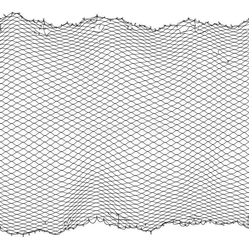 Textura sem emenda do vetor preto da rede da corda do pescador isolada no branco ilustração royalty free