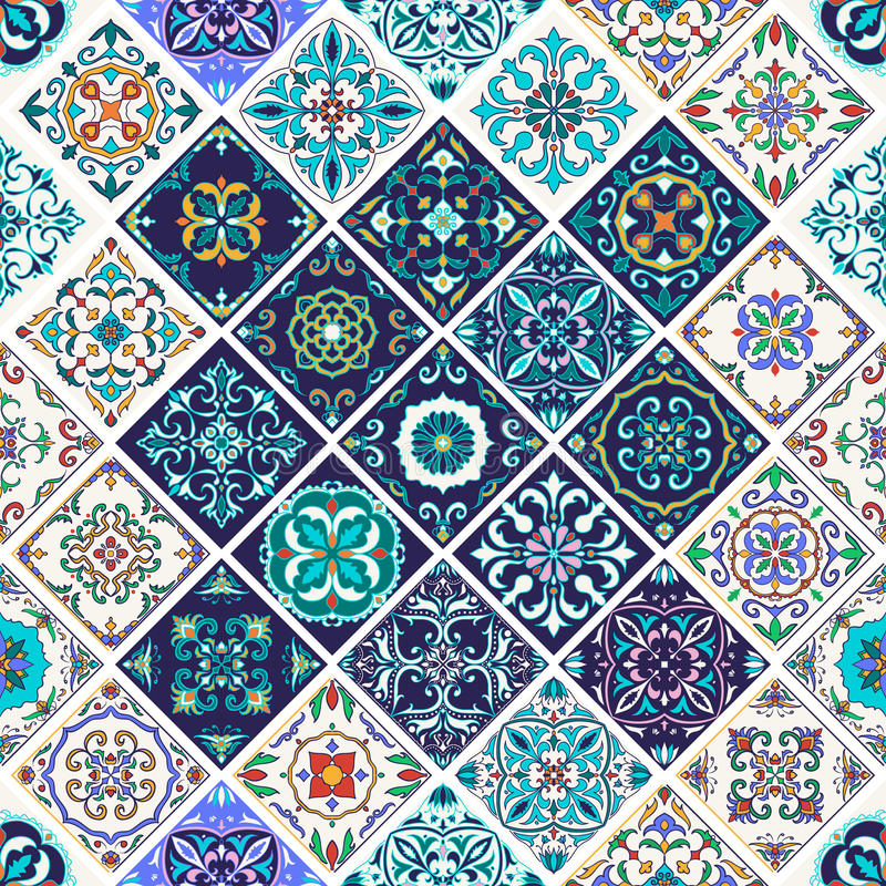 Textura sem emenda do vetor Teste padrão bonito dos retalhos para o projeto e forma com elementos decorativos ilustração stock