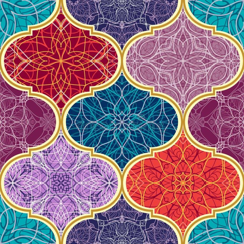 Textura sem emenda do vetor Teste padrão de mosaico mega bonito dos retalhos para o projeto e forma com elementos decorativos ilustração do vetor