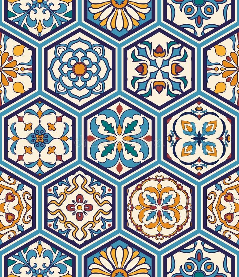 Textura sem emenda do vetor Teste padrão mega bonito dos retalhos para o projeto e forma com elementos decorativos no hexágono ilustração do vetor