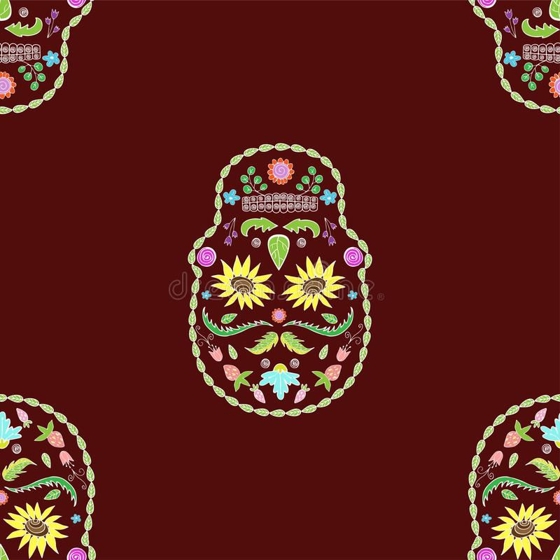 A textura sem emenda dos crânios floresce a imagem ilustração do vetor