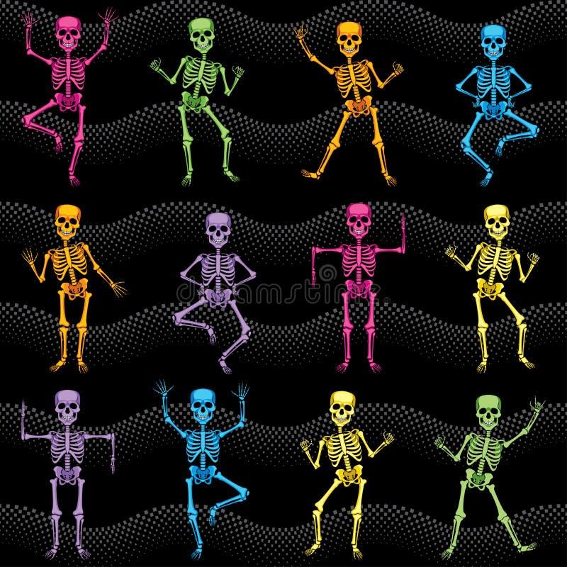 Textura sem emenda dos esqueletos coloridos da dança ilustração do vetor