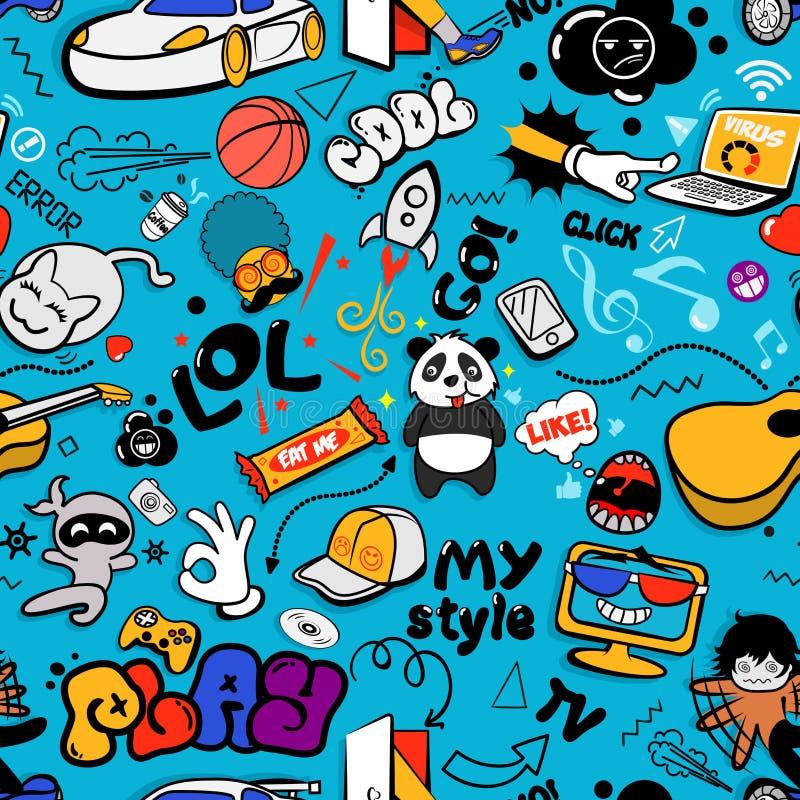 Textura sem emenda dos grafittis do vetor com elementos estranhos e caráteres com sinais sociais dos meios e outros ícones brilha ilustração do vetor