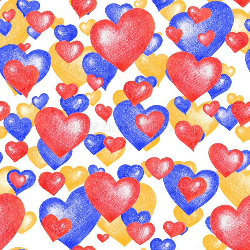 Textura sem emenda dos temas do amor Teste padrão sem emenda com os corações vermelhos, azuis e amarelos isolados no branco fotografia de stock
