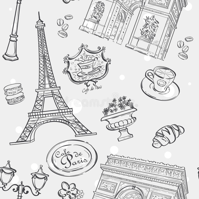 Textura sem emenda no esboço preto com a imagem da torre Eiffel, de França, e de outros artigos ilustração do vetor