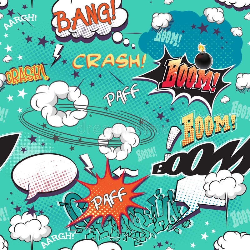 Textura sem emenda para o fundo com a página da banda desenhada dos elementos de imagem com bolhas para o discurso, sons diferent ilustração do vetor