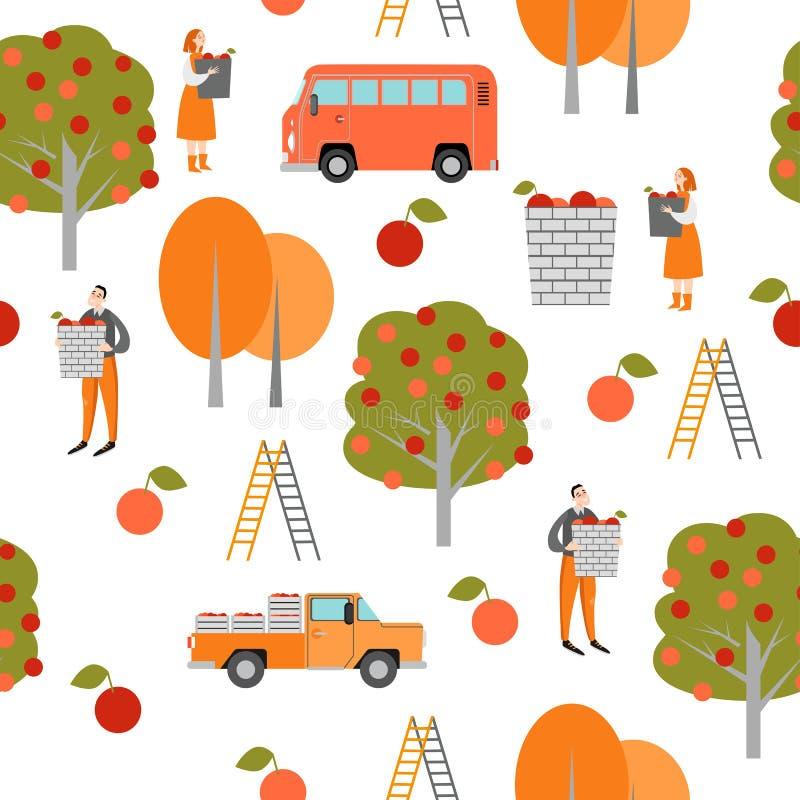 Textura sem emenda Tempo de colheita Os personagens de banda desenhada engraçados estão escolhendo maçãs no jardim ilustração stock
