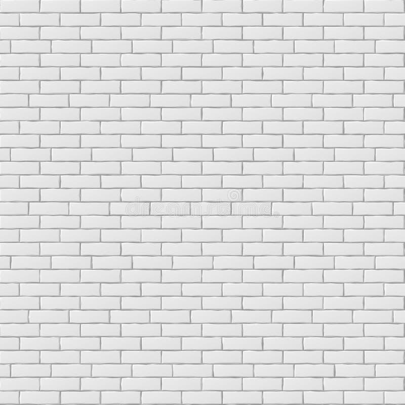 Textura sem emenda vazia branca do teste padrão da parede de tijolo ilustração stock