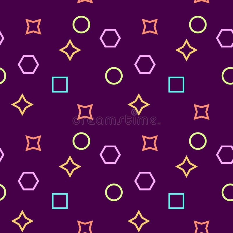 Textura simples, modelo inconsútiles/de la repetición de Memphis/ Elementos púrpuras, rosados, amarillos y azules libre illustration