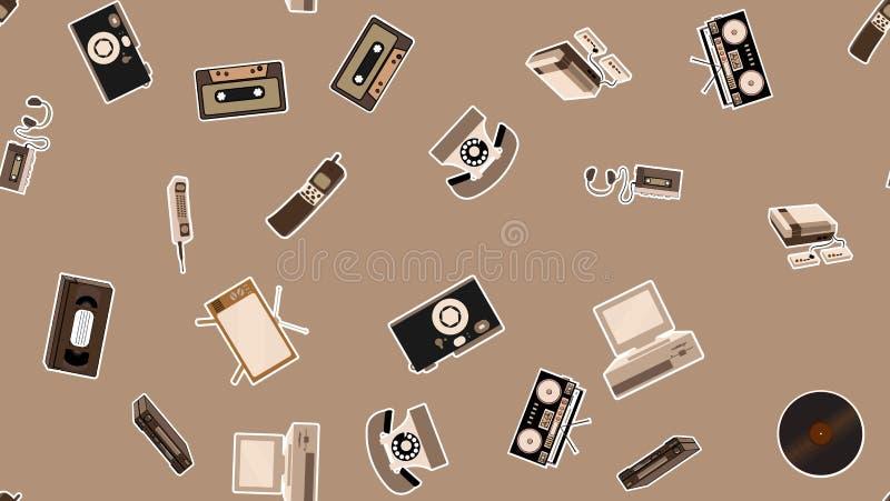 Textura, teste padrão sem emenda de etiquetas retros velhas da eletrônica do moderno, telefone celular do registrador da tevê, jo ilustração stock