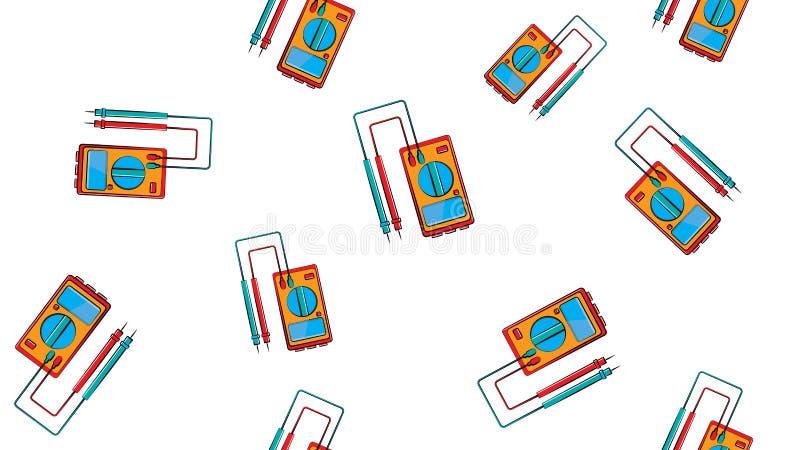 Textura, teste padr?o sem emenda de instrumentos vermelhos e amarelos para medir a for?a e a tens?o de atual el?trico, mult?metro ilustração stock