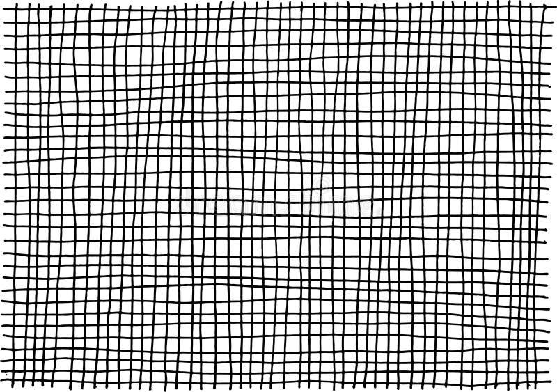 Textura tirada mão da tinta do Grunge com teste padrão quadrado da gaiola Fundo preto e branco para o projeto Estilo da arte da r ilustração do vetor