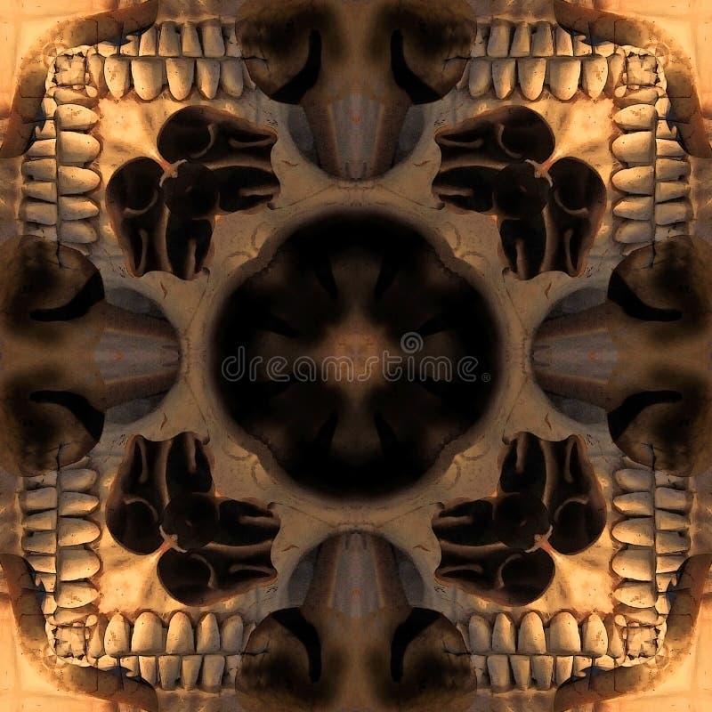 Textura tribal del elemento de los huesos del extracto simétrico inconsútil del modelo ilustración del vector