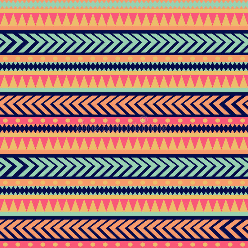 Textura tribal del vector inconsútil Modelo tribal del vector Modelo rayado étnico colorido Fronteras geométricas Ornamento tradi stock de ilustración