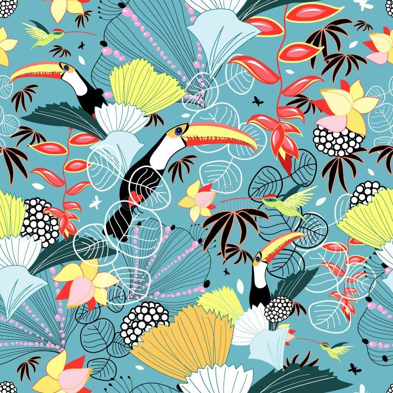 Textura tropical com toucans e colibris ilustração royalty free