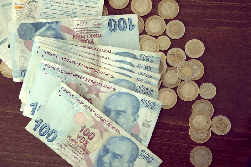 Textura turca das cédulas Dinheiros turcos da textura foto de stock royalty free