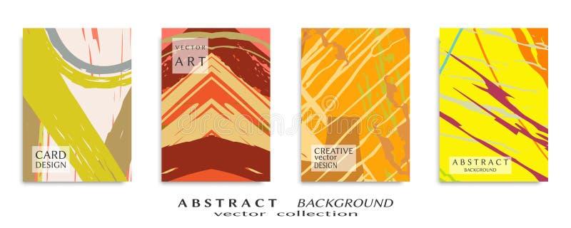 Textura universal abstracta del arte del grunge, movimientos del cepillo, sistema de la hoja a4 foto de archivo libre de regalías