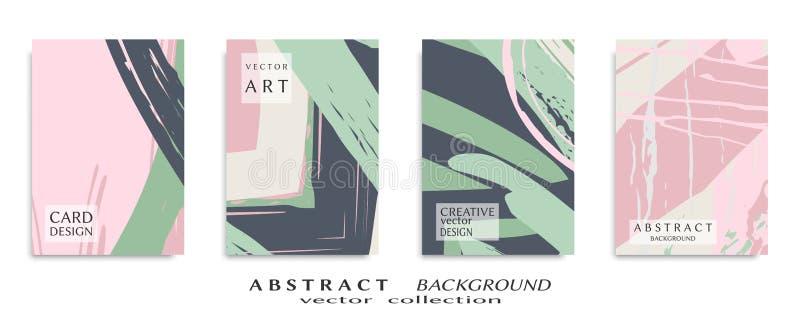 Textura universal abstracta del arte del grunge, movimientos del cepillo, sistema de la hoja a4 imagenes de archivo