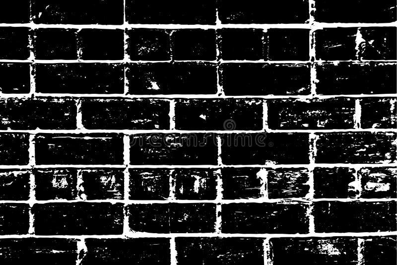 Textura urbana da parede de tijolo do Grunge preta com emendas brancas e ruídos, com alvenaria atípica ilustração do vetor